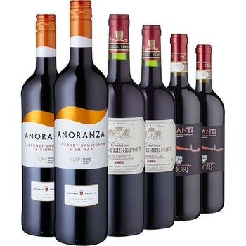 Europäische Rotweinklassiker, 6 Flaschen