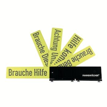 Auto-Pannenfächer mit 5 Hinweiskarten schwarz/gelb