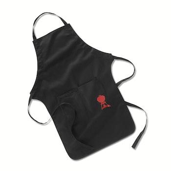 Grillschürze, Schwarz mit rotem Kettle