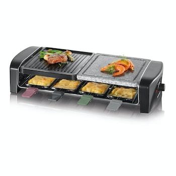 Raclette-Grill mit Naturgrillstein, mit 8 Pfännchen, schwarz