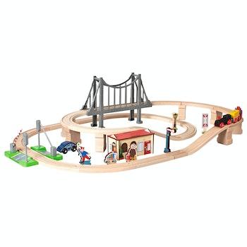 Holzeisenbahn, Bahnset mit Brücke
