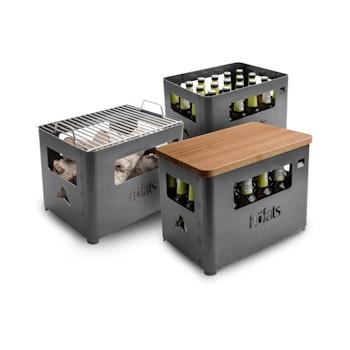 Feuerkorb u. Getränkekiste BEER BOX inkl. Grill- und Hockeraufsatz